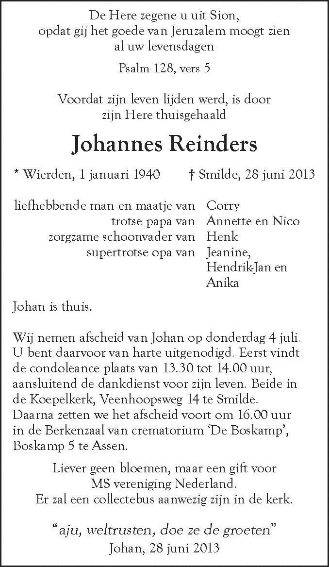 Dhr J Reinders DvhN  adv zonder adres