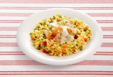 Franse visschotel met risotto
